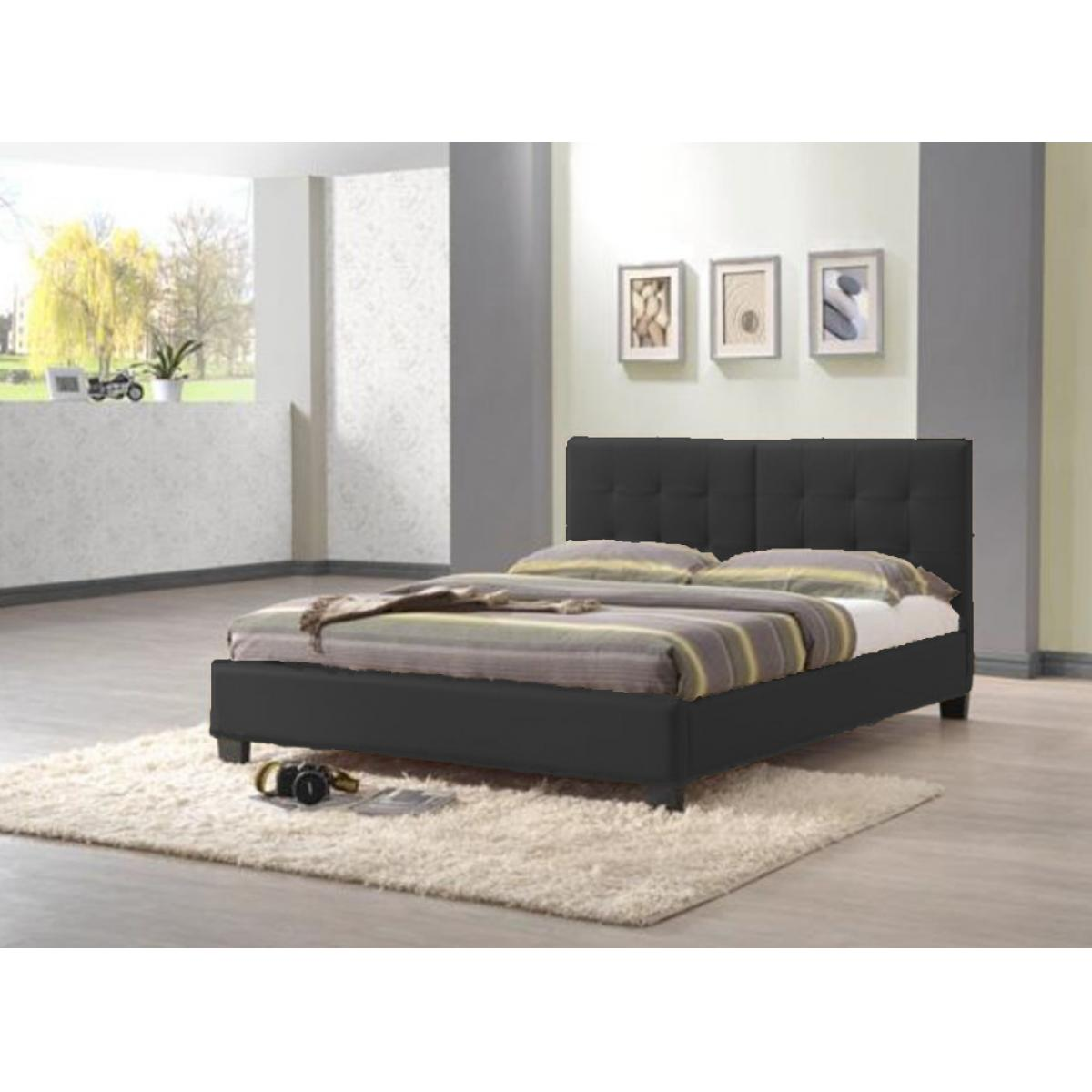 kunstleder bett polsterbett 140x200 cm designerbett futonbett doppelbett schwarz. Black Bedroom Furniture Sets. Home Design Ideas