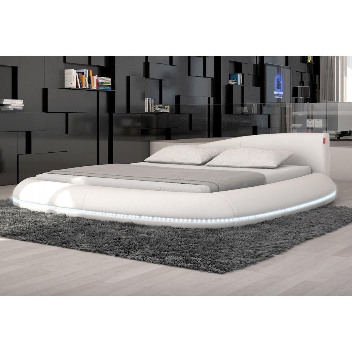 kunstleder led bett designerbett 140x200 cm ehebett doppelbett polsterbett wei ebay. Black Bedroom Furniture Sets. Home Design Ideas