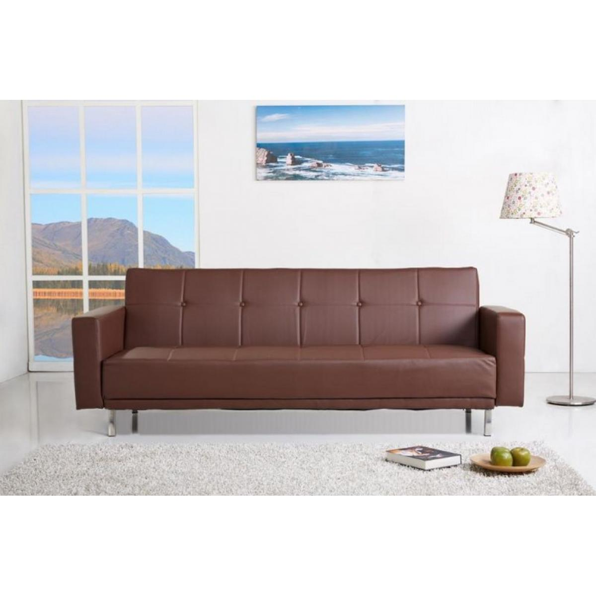 schlafcouch 217x88 schlafsofa couch sofa schlaffunktion kunstleder braun ebay. Black Bedroom Furniture Sets. Home Design Ideas