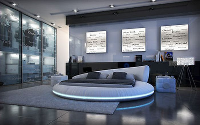 lederbett mit led beleuchtung 140 x 200cm bett polsterbett rundbett pu leder ebay. Black Bedroom Furniture Sets. Home Design Ideas